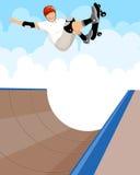 Skateboarder σε μια κεκλιμένη ράμπα Διανυσματική απεικόνιση