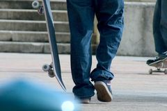 Skateboarder. Getting ready for some tricks Stock Photography