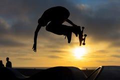 Venice Beach Skate Park. A skateboarder in action at Venice Beach Skate Park in Los Angeles, California, USA royalty free stock photo