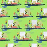 Skateboarder active people park sport extreme outdoor active seamless pattern background skateboarding urban jumping Royalty Free Stock Image
