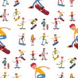 Skateboarder active people seamless pattern background sport extreme active skateboarding urban jumping tricks vector. Skateboarder active people sport seamless Stock Photography