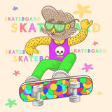 Skateboarder with a beard performs a trick. Skateboarder with a beard wearing sunglasses performs a trick. vector Stock Images