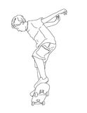 Skateboarder Boy. Line Drawing of a Young Boy on a Skateboard vector illustration