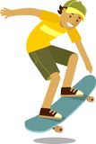 Skateboarder boy jumping on skateboard in flat Stock Image