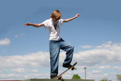 Skateboarder in Clouds Royalty Free Stock Photography