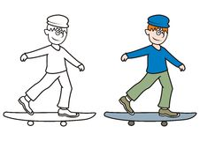 Skateboarder-coloring book Royalty Free Stock Image