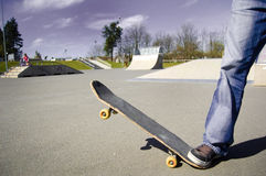 Skateboarder conceptual image. Picture of skateborad in skatepark Royalty Free Stock Photos