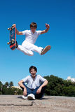 Skateboarder on a dangerous jump Royalty Free Stock Photo