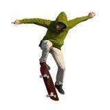 Skateboarder die een springende truc doen royalty-vrije stock afbeeldingen