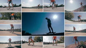 Skateboarder die trucs doen bij zonsondergang De sporten multiscreen achtergrond stock footage