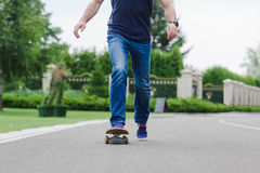 Skateboarder doing a skateboard trick Stock Photo