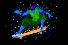 Skateboarder doing stunt. Easy to edit vector illustration of Skateboarder doing stunt Stock Photo