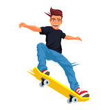 Skateboarder doing a trick on a skateboard. Cool skateboarder doing a trick on a skateboard. Vector illustration on white background. Sports concept vector illustration