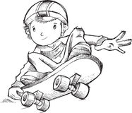 Skateboarder Doodle Vector Royalty Free Stock Image