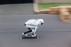 SkateBoarder DownHill Speed-Blur Stock Photo
