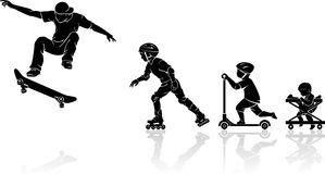 Skateboarder Evolution Royalty Free Stock Photography