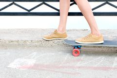 Skateboarder feet Stock Images