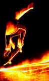 Skateboarder On Fire. Illustration of a skateboarder performing his tricks in fiery flames Stock Photos