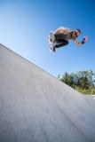 Skateboarder flying Stock Photography