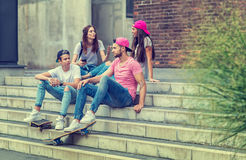 Skateboarder friends on the stairs, made selfie photo Stock Photography