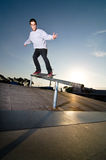 Skateboarder on a grind Royalty Free Stock Photo