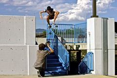 Skateboarder Grinding Handrail Royalty Free Stock Photo