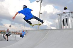 Skateboarder hand up Stock Photo