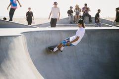 Skateboarder, het Strand van Venetië, Los Angeles stock afbeelding