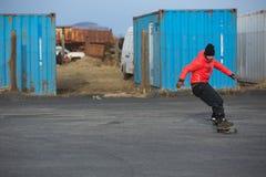 Skateboarder i stads- Island arkivfoton