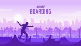 Free Skateboarder In The Park On Skateboard Illustration. Sportsman On Landscape Of The City Doing A Trick. Skater Doin Royalty Free Stock Photo - 140693765