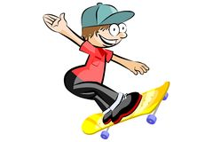 Skateboarder isolated doing a jumping Royalty Free Stock Photo