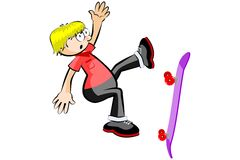 Skateboarder isolated doing a jumping Stock Photography