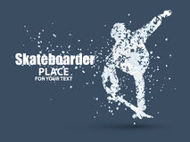 Skateboarder jump on skateboard, particle divergent composition, vector. Illustration Stock Photo