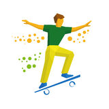Skateboarder jump on skateboard. Skater doing tricks Royalty Free Stock Images