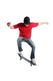 Skateboarder jumping isolated on white Royalty Free Stock Photos
