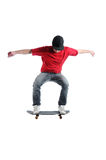 Skateboarder jumping isolated on white Royalty Free Stock Photography