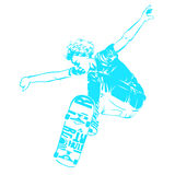 Skateboarder jumping isolated on white. Skates and skateboards icon. Extreme theme modern print. Stock Images
