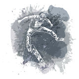 Skateboarder jumping on paint spot with splash in watercolour style background. Skates and skateboards icon. Extreme theme modern Stock Image