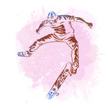 Skateboarder jumping on paint spot with splash in watercolour style background. Skates and skateboards icon. Extreme theme modern Stock Images