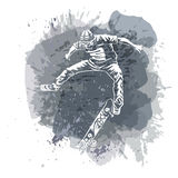 Skateboarder jumping on paint spot with splash in watercolour style background. Skates and skateboards icon. Extreme theme modern Royalty Free Stock Images