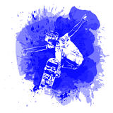 Skateboarder jumping on paint spot with splash in watercolour style background. Skates and skateboards icon. Extreme theme print. Royalty Free Stock Photos