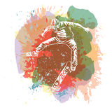 Skateboarder jumping on paint spot with splash in watercolour style background. Skates and skateboards icon. Extreme theme print. Stock Image