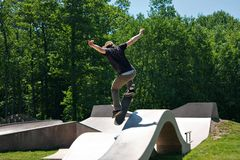 Skateboarder Jumping Skate Ramp Stock Photo