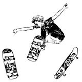 Skateboarder jumping on white background. Skates and skateboards icon. Extreme theme modern print. Isolated on white Royalty Free Stock Images