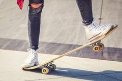 Free Skateboarder Legs On Skateboard At Skate Park Stock Image - 148562951