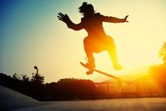 Skateboarder legs skateboarding Royalty Free Stock Images