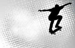 Skateboarder op de abstracte achtergrond Royalty-vrije Stock Fotografie