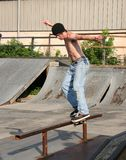 Skateboarder Rail Sliding Royalty Free Stock Images