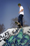 Skateboarder ready to drop in. Boucherville Skatepark, Quebec, Canada Royalty Free Stock Images