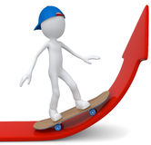 Skateboarder on red arrow. Skateboarder with blue cap on red arrow Vector Illustration